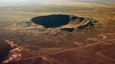 The 1,200-metre diameter Barringer Crater in Arizona is the result of an impact with an asteroid 50 metres across