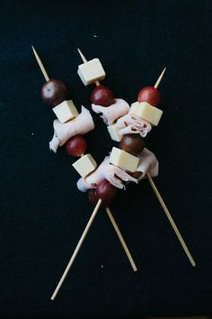 Cheese, ham and grape skewers. Perfect For A Party