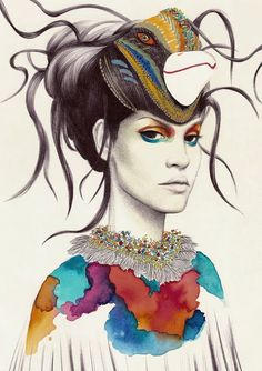 Love the idea for the head piece - Illustration by Camila do Rosario