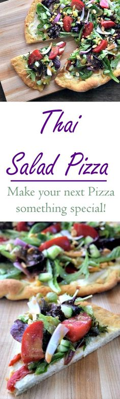 Thai Chicken Pizza Salad Recipe - Yes that's right Salad and on Pizza and it's amazing, I'm still craving it - Pin it now!