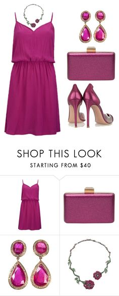 """""""Hot magenta"""" by hallierosedale ❤ liked on Polyvore featuring Vila Milano, Lanvin, Jade Jagger, Wendy Yue and Gianvito Rossi"""