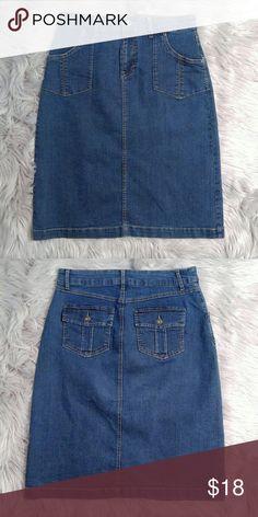 """Christopher and Banks Denim Skirt Christopher and Banks Denim Skirt Size 6 24"""" long EUC Christopher & Banks Skirts Midi"""