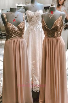 Rose Gold Chiffon Long Bridesmaid Dress with Sequins Top Short Lace Bridesmaid Dresses, Champagne Bridesmaid Dresses, Bridesmaid Dresses Plus Size, Beautiful Bridesmaid Dresses, Bridesmaids, Prom Dresses, Chiffon, Sequins, Graduation Dresses