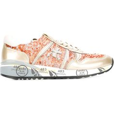 Premiata Diane trainers (825 PLN) ❤ liked on Polyvore featuring shoes, sneakers, orange, orange shoes, real leather shoes, premiata sneakers, orange leather shoes and genuine leather shoes