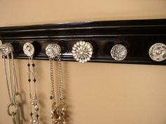 Hey, I found this really awesome Etsy listing at https://www.etsy.com/listing/115751003/black-jewelry-holder-wall-necklace Necklace Hanger, Jewelry Hanger, Jewelry Holder Wall, Cabinet Decor, Cabinet Knobs, Jewellery Storage, Jewelry Organization, Organisation, Black Jewelry