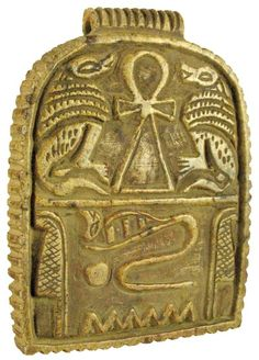 """Brown limestone plaque with an ankh, the Egyptian symbol of life, a cobra, and two seated baboons, with a loop at the top for wearing as a pendant. From the book of the dead. Third Intermediate.      1070 - 712 BC  3 1/4"""" x 2 1/2"""""""