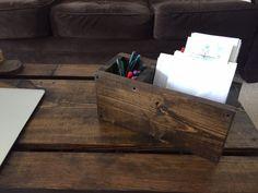 Rustic wood office desk organizer