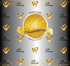 Anniversary Step and Repeat 50th Anniversary, Repeat, Backdrops, How To Memorize Things, Templates, Prints, Stencils, Vorlage, Backgrounds