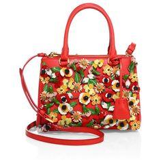 Prada Garden Saffiano Leather Satchel ($3,080) ❤ liked on Polyvore featuring bags, handbags, papavero, satchels, floral handbags, satchel handbags, satchel purses, floral print handbags and red satchel handbag