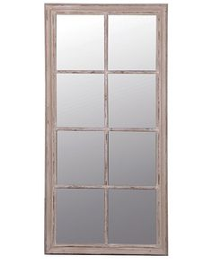 Large rectangular window mirror featuring eight panes in wood with a subtly-distressed grey/taupe paint finish - for hallways, living rooms & bedrooms. Free delivery when you purchase this stylish mirror by Coach House. Window Pane Mirror, Taupe Paint, Wood Framed Mirror, Coach House, Paint Finishes, Autumn 2017, Windows, Living Room, Free Delivery