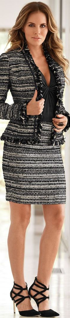 Boston Proper Tweed Fringe Suit | House of Beccaria~