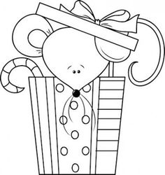cute mouse christmas gift coloring page