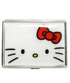 Wallet hello kitty pinterest hello kitty and kitty loungefly hello kitty red bow id card case silver metal business card reheart Choice Image
