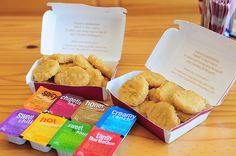 chicken nuggets + dipping all the dipping sauces!! super yay.