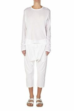 french seam t.shirt with tail white | bassike