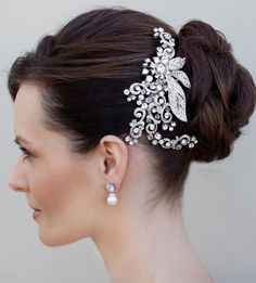 vintage women's accessories | vintage rhinestone bridal hair clip Hair Accessories for Wedding