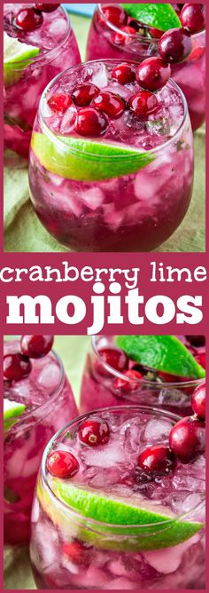 holiday drinks Cranberry Lime Mojitos - A festive twist on this classic drink. Mint, sugar, lime, cranberry juice, and rum come together to make this yummy drink that perfectly highlights the winter flavor of cranberry but can be made all year long! Cranberry Juice Cocktail, Cocktail Drinks, Cocktail Recipes, Drink Recipes, Cranberry Recipes Drinks, Margarita Recipes, Juice Recipes, Red Cocktails, Yogurt Recipes