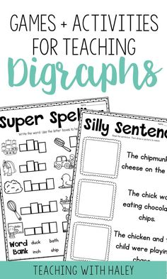 Are your students struggling to read and write words with beginning and ending digraphs? This packet is perfect to introduce and reinforce digraphs in centers, small groups, or independent work. | digraph activities, digraph worksheets, digraph first grade, digraph lists, digraph games, phonics first grade, phonics worksheets