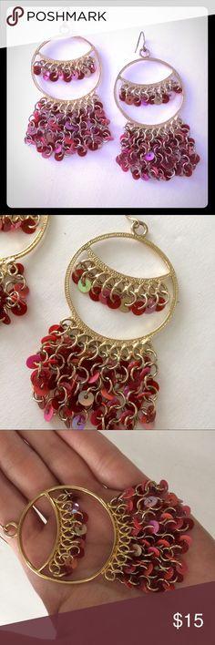 Pink Gold Dangle Earrings Pretty pink and gold tone earrings for pierced ears Jewelry Earrings