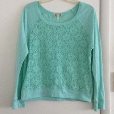 Kirra Lace Top Size M Kirra long sleeve lace top. Mint colored. I'm great condition. I would say it fits more like a size small. Tag says medium. Super cute. Pictures don't do it justice. Kirra Tops Tees - Long Sleeve
