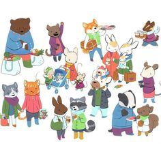 Happy Monday! This is the finished painting I've been sneak-peeking for months: #richardscarry meets #juliarothman meets #bostonpublicmarket. --- If you love this crowd prints and whatnots are available through Society6 (link in bio then hit Shop) with my whole cut going to the ACLU. (Same deal for my Capybara Greenhouse painting btw) Yay for supportive diverse communities and the lawyers that defend them! #happymonday #artistsoninstagram #animalsarefriends #acrylgouache #crowdscene…