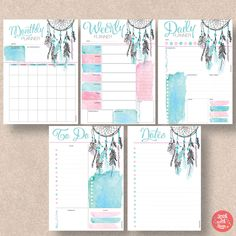 Dream Catcher Printable Planner 5 pack includes Daily Planner, Weekly Planner, Monthly Planner, To Do Planner and Notes Planner. - Weekly and Monthly start on a To Do Planner, Monthly Planner, Planner Pages, Daily Planner Printable, Planner Template, Planner Inserts, List Template, Free Printable, Bullet Journal Ideas Pages