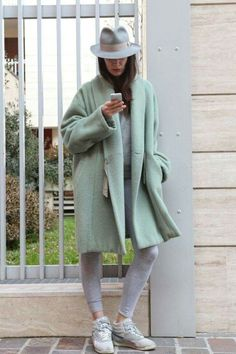 2666f79980d soft colour palette in grey and green... Sporty Style
