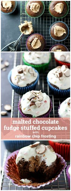 Malted Chocolate Fudge Stuffed Cupcakes with Rainbow Chip Frosting girlversusdough.com @girlversusdough