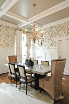 Dining room with beautiful ceiling detail. #dining #room #decor