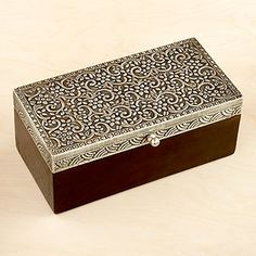 Giulia Rectangle Jewelry Box  $14.99     This Giulia Rectangle Jewelry Box is made from mango wood and detailed with intricate metalwork. Inside, an inner partition helps to keep your personal items organized. A lovely handcrafted gift idea.  Giulia Rectangle Jewelry Box is handcrafted in India mango wood and metal