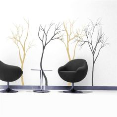Stark and simple, these cold winter trees add depth to any space.  These tree decals come as a set of 4, in your choice of two colors.