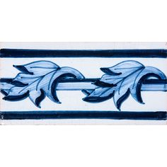 Acanthus Border Blue Glazed Ceramic Tiles 2 1/2x5 | Country Floors of America