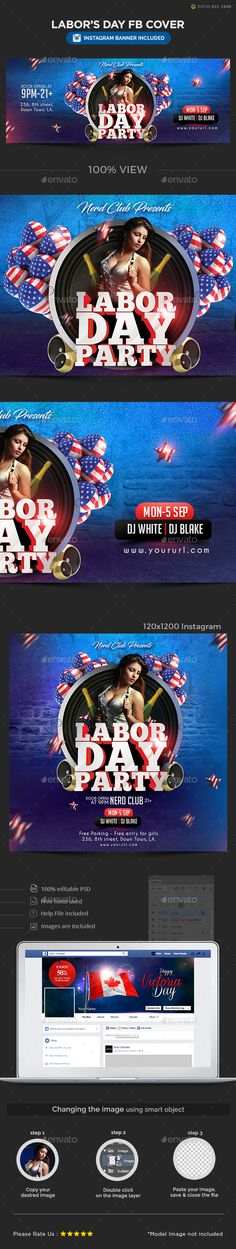 Labor Day Facebook Cover Facebook Cover Design, Facebook Cover Template, Facebook Timeline Covers, 100 Free Fonts, Image Font, Website Template, New Friends, Spotlight, Banners