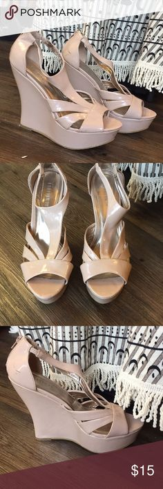 Nude platform strappy wedges from forever 21 Gently used strappy patent nude wedges. Zippered back. Make me an offer! Forever 21 Shoes Heels