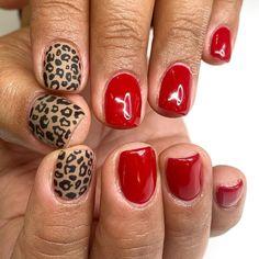Aztec Nail Designs, Shellac Designs, Short Nail Designs, Red Cheetah Nails, Aztec Nails, Pretty Nail Colors, Pretty Nails, Hot Nails, Hair And Nails