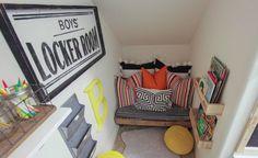 Small Kids Playroom Design Ideas Under Stairs - TopDesignIdeas Reading Nook Closet, Closet Nook, Playroom Closet, Reading Nook Kids, Playroom Storage, Kid Closet, Playroom Design, Kid Playroom, Book Storage