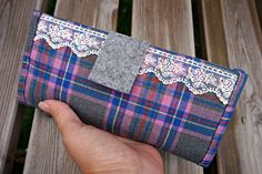 Purple Plaid Women's Fabric Wallet - Ladies Lace Fabric Wallet - Purple Tartan Wallet for Women - Plaid Organizer Wallet by theWatermelonDesign on Etsy