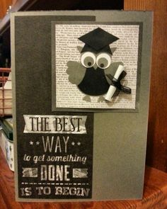 Graduation card using the Stampin' Up Owl Punch... First ever that I have had to make! Very happy with the result!!! :-)