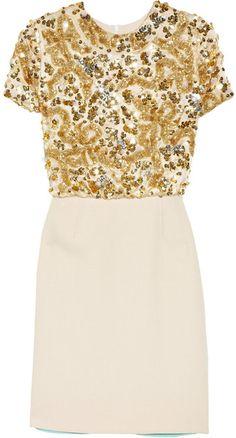 Michael Van Der Ham Gold Embellished Patchwork Dress