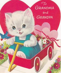 Vintage 1960s Flocked Kitty Valentine Greeting Card
