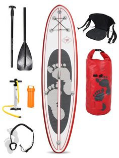 "Two Bare Feet Model II 10'10"" Inflatable SUP Stand Up Paddle Board Deluxe Pack (Rojo) £375"