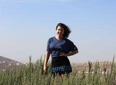 Bir Sabaa mini skirt; blue cross-stitch hand embroidery