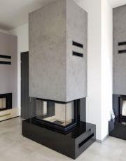 Kominek nowoczesny nr 28 wkład NBC 10 Kratki.pl , granit Absolut Black Absolut Black, Modern Fireplace, Nbc 10, Kitchen Appliances, Shelves, Patio, Living Room, House, Fireplaces