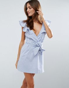 ASOS Striped Beach Dress with Structured Frill Shoulder