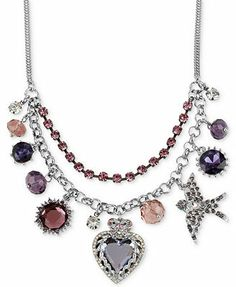 Betsey Johnson Necklace, Antique Silver-Tone Crystal Heart Multi Charm Frontal Necklace