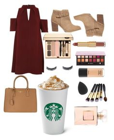"""Starbucks"" by colorfullcalla ❤ liked on Polyvore featuring Topshop, Sole Society, Prada, tarte, Luxie, MAC Cosmetics and Chanel"