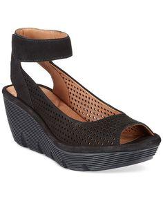 02125597210f Details about B.O.C. Born Slingback Wedge Sandals Peep Toe Shoes Black  Leather sz 6 M   W