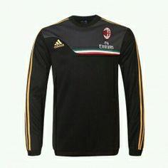 13-14 AC Milan Black Long Sleeve Crew Sweatshirt