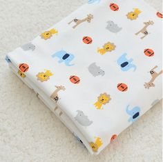 Wide Cotton Knit Fabric, Baby Fabric, Baby Cotton, Stretch Fabric, Elephant Giraffe Lion Hino Football - 1/2 yard