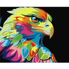Paint By Number Kit DIY Acrylic Oil Painting On Linen Colorful Animals Surprise Eagle Painting, Oil Painting On Canvas, Diy Painting, Canvas Art, Arte Pop, Cross Paintings, Animal Paintings, Wall Paintings, Eagle Animals